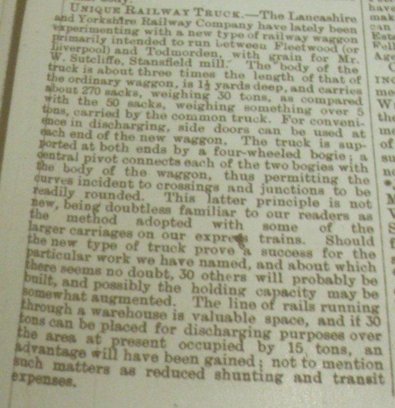Article from Todmorden Advertiser dated 21 April 1893 regarding the introduction of the prototype covered bogie van for Todmorden traffic.