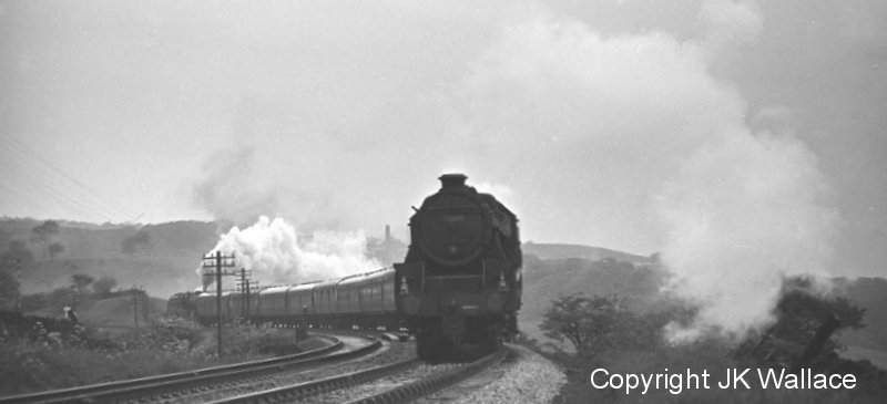 Excursion1X43 Bradford S.S. return excursion Southport – Bradford Exchange with 45208 climbing out of Burnley 19.55 on Saturday 4 June 1966.