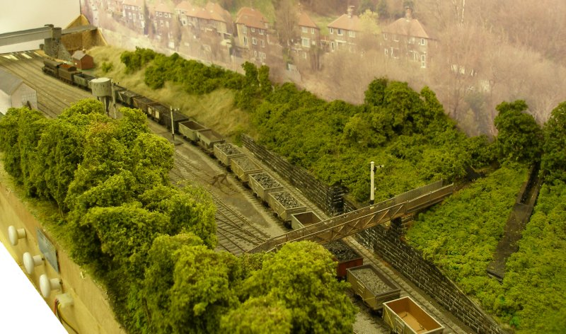 Drones-eye view of Hall Royd Junction (the model) as at 4 September 2015 looking westwards towards HAll Royd Road bridge.