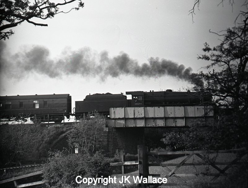 Stanier Black 5 44694 climbing out of Burnley to Copy Pit with 1X31 return advertised excursion Blackpool North – Bradford Exchange on Whit Monday at 19.10 30 May 1966.