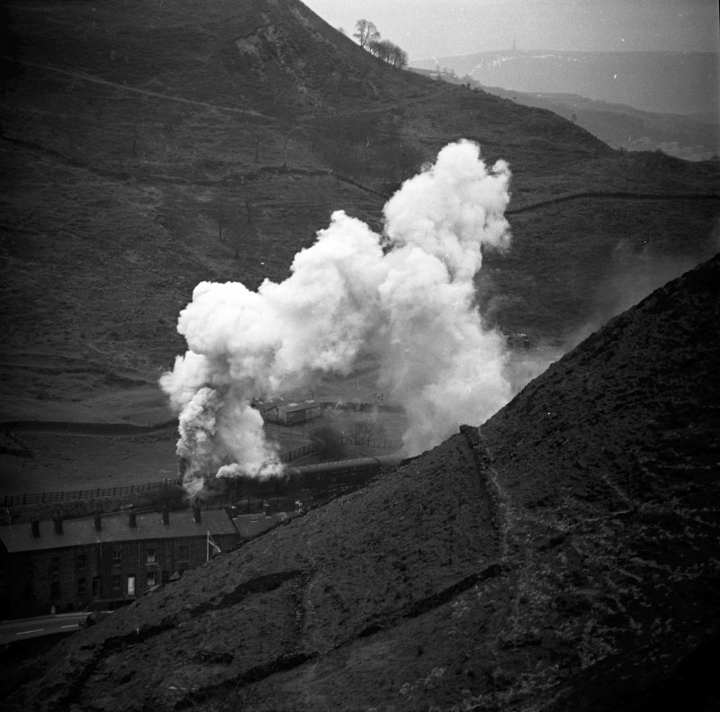 45694 56A Bellerophon passing Cornholme between Todmorden+ Copy Pit 1X19 Castleford Cen – Blackpool N. Exc 10.00 Easter Mon 11/4/66