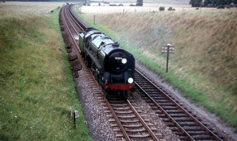 Britannia 70004 'William Shakespeare' approaches Westbury on 14 August 1966.