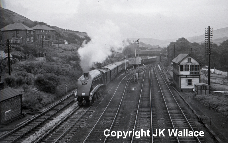 BR 60022 'Mallard' passing Hall Royd Junction at 12:55 on 30 September 1961 with the 'Northern Ru=ubber Special' photographed by Eric Bentley