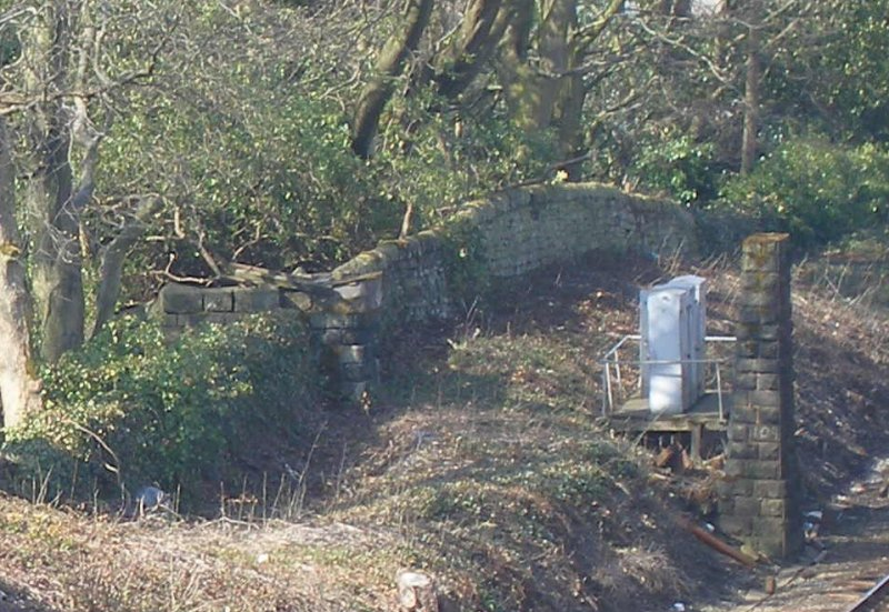 Abutment and pier of Calder Valley main line bridge 109