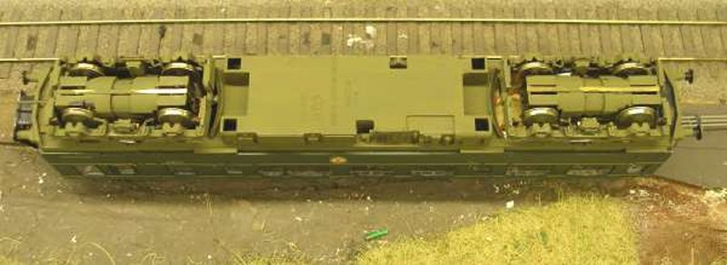 Hornby Class 110 DMU re-motoring project: underside of the rebuilt chassis with two Black Beetles fitted