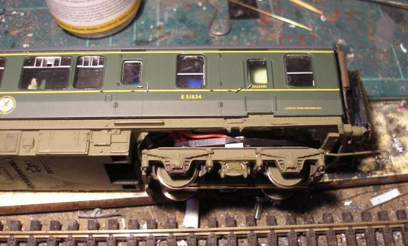 Hornby Class 110 DMU re-motoring project: plastic side frames added and glued in place