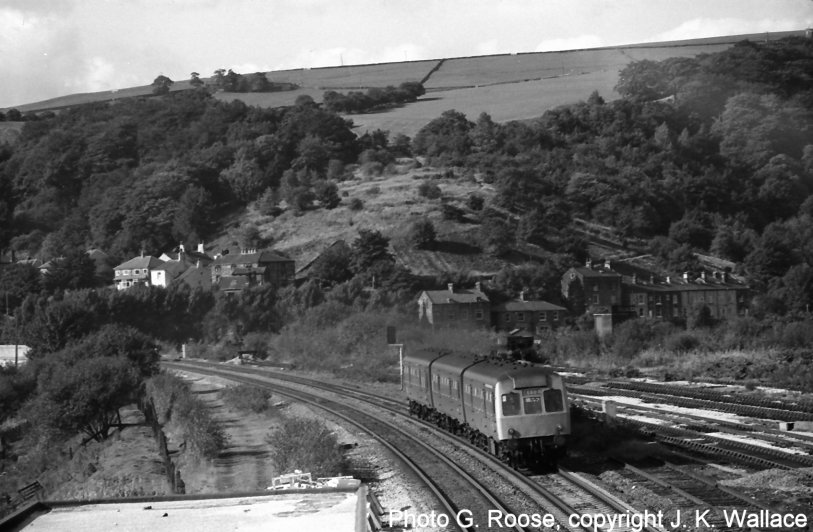 Class 111 working train 7Y39 approaches Hall Royd Road bridge on 5 October 1979.