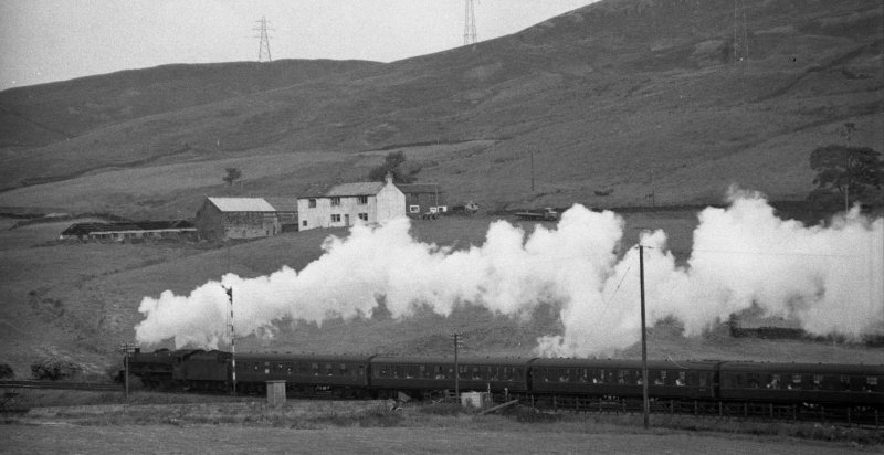 Stanier Jubilee 45647 'Sturdee' approaches the summit at Copy Pit with 1X04 Leeds City - Blackpool North at 10.20 a.m. on 30 August 1965.