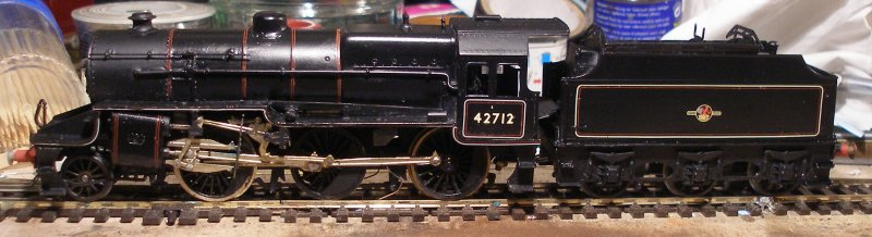 Broadside view of a 4mm (OO) DJH Crab 2-6-0 in late BR mixed traffic livery with Fox Transfers and varnished with Ronseal Satin varnish.