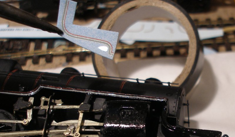DJH Crab: The Fox lining transfer is securely held with a pair of pliers and carried to the loco.