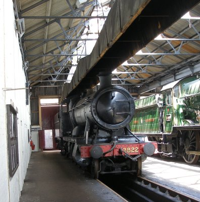 GWR 2-8-0 Heavy Freight 3822 inside the running shed at Didcot Railway Centre 6 May 2013