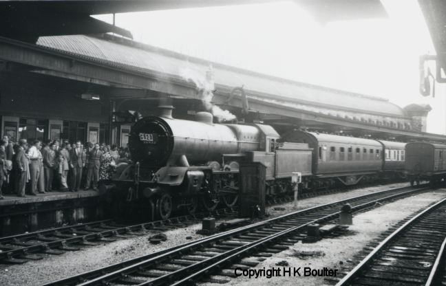 50455 is standing at York, with the special it has brought in from Blackpool Central, as photographed by H. K. Boulter