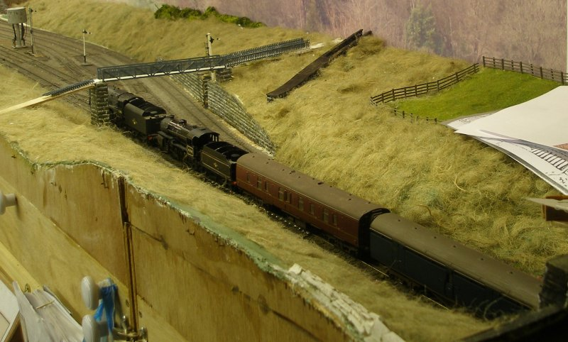 Hall Royd Junction (the model) showing the Kiln Clough culvert installed.