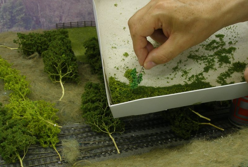 Hall Royd Junction (the model) showing the application of flock to the Seafoam trees.