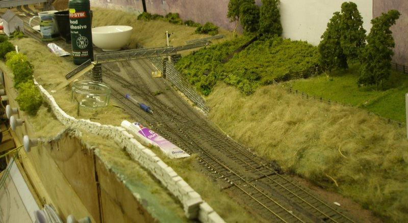 Hall Royd Junction (the model) showing the start of the dry stone walling
