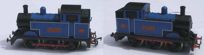 The Bachmann 'Stewart' DCC OO scale starter set loco, showing both sides of th loco
