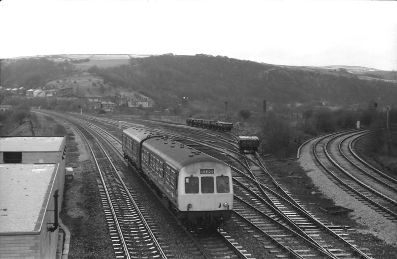 BR two-car Class 101 in blue livery heads for Leeds past the enginnering sidings on 2 April 1979.