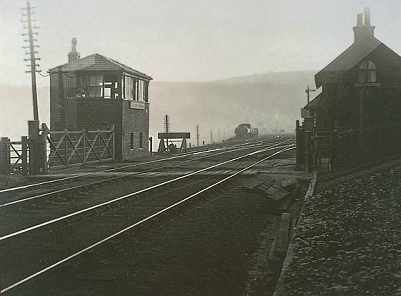 Hall Royd Level Crossing showing signal box, crossing and keeper's house.