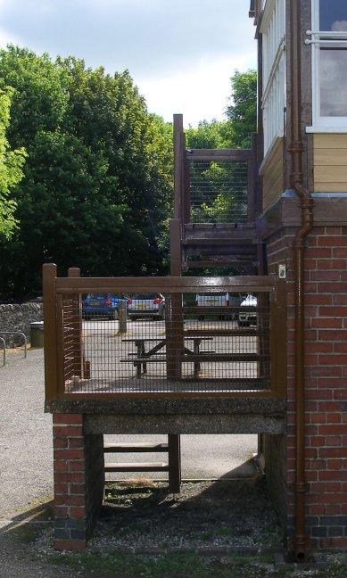 Stair detail of Hartington Station signal box 10 July 2014 showing original platform height