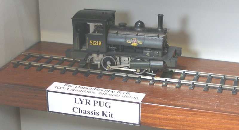 High Level L&YR Pug chassis running gently on its display stand.