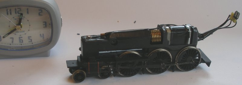 Bachmann Jubilee with Buelher motor conversion to DCC reassembled chassis with chassis tags and Gaugemaster DCC socket evident.