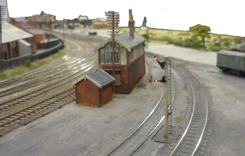 Leciester South showing 2-arm shunting signal. Shipley Model Railway Society's Leicester South layout as seen at Alexandra Palace on Sunday 29 March 2015.