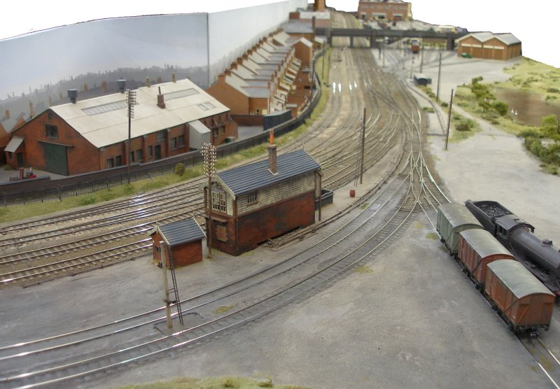Leicester South looking north. Shipley Model Railway Society's Leicester South layout as seen at Alexandra Palace on Sunday 29 March 2015.