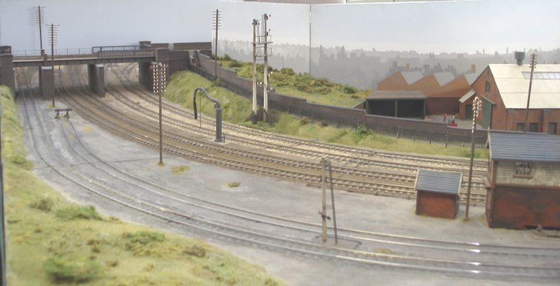 Leicester South looking south. Shipley Model Railway Society's Leicester South layout as seen at Alexandra Palace on Sunday 29 March 2015.