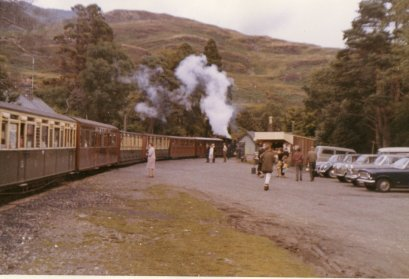 'Linda' coasts to a standstill at the water tower at Tan-y-Bwlch station, Festiniog Railway, Sunday 7 August 1966
