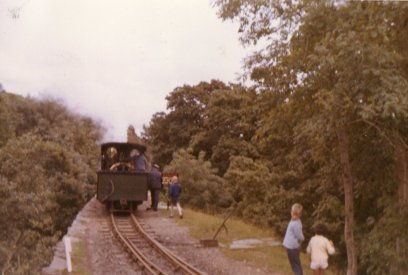 'Linda' runs out on to Creua Bank whilst running round its train at Tan-y-Bwlch, Festiniog Railway,7 August 1966.