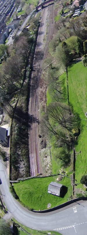An aerial photo taken by Nigel Trafford on 21 April 2014 shows the full extent of Hall Royd Junction from the mouth of Millwood Tunnel to Hall Royd Road bridge.