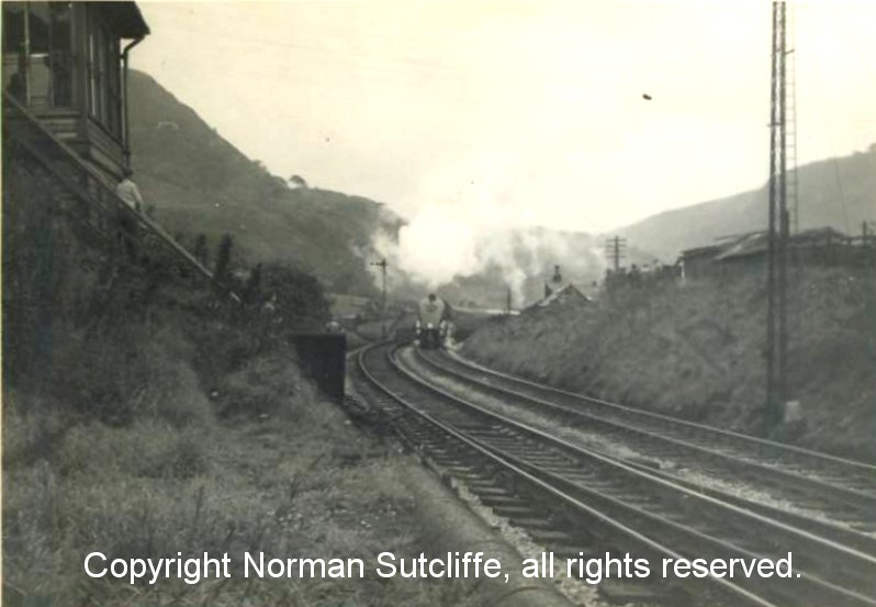 60022 A4 'Mallard' approaches Cornholme signal box with the Northern Rubber special: photo courtesy of Norman Sutcliffe.