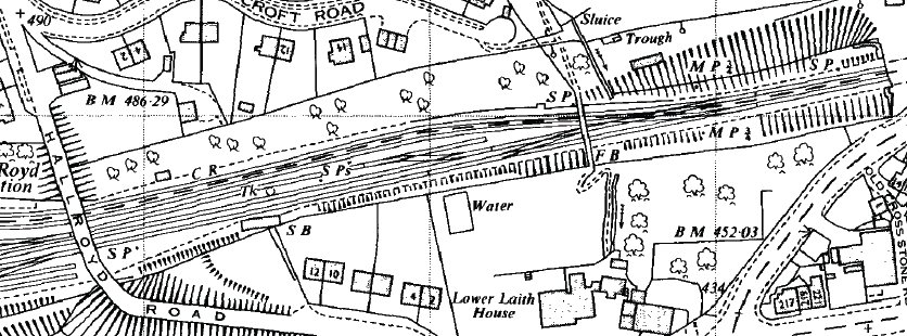 Extract from Ordnance Survey 1963 1:2500 map showing Hall Royd Junction detail