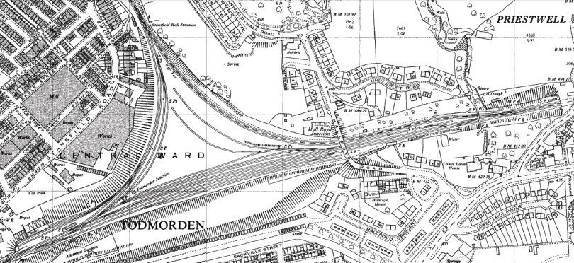 OS 1963 1:2500 map extract showing Hall Royd Junction