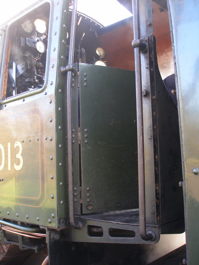 Detail shot of 70014 'Oliver Cromwell' cab door detail