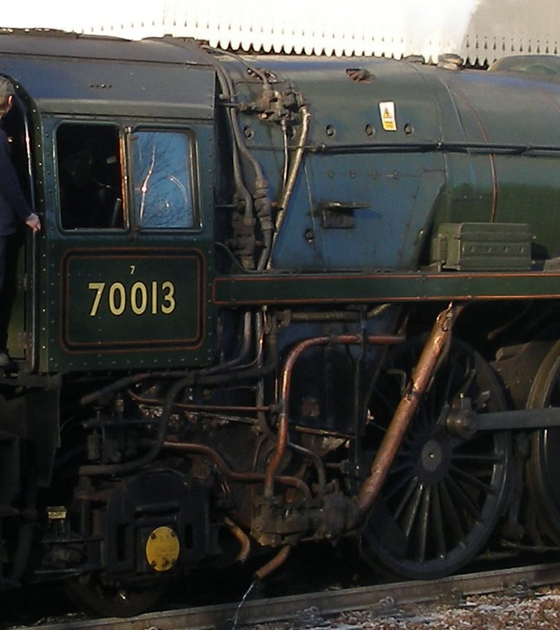 Detail shot of 70014 'Oliver Cromwell' fireman's cab side