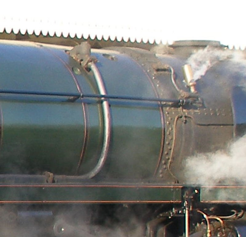 Detail shot of 70014 'Oliver Cromwell' showing whistle detail