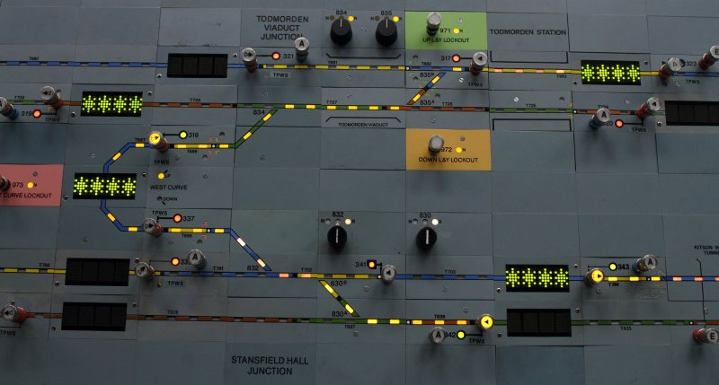 Preston Power Signal Box panel detail showing route set for a train to pass in the Up direction from Stansfield Hall Junction to Todmorden Viaduct Junction on 30 January 2015.