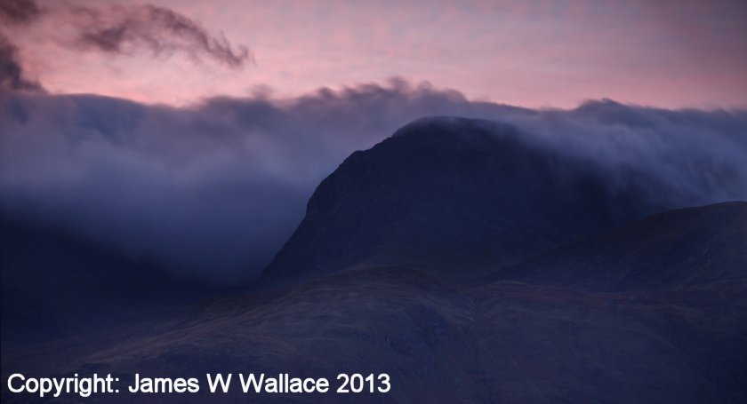 Ben Nevis as photographed from 'Tree Tops' bed & breakfast, Banavie by James W Wallace