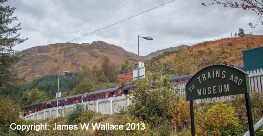 Station signage and West Coast Railways BR Mark 1's at Glenfinnin 19 October 2013