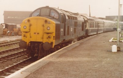 Class 37 stands at Mallig on 8 August 1981 with the 16:05 to Fort William.