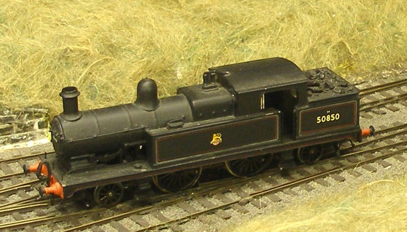 Assembled Cotswold L&YR Radial Tank showing extended smokebox and bunker, and finished as 50850. This was the last active Radial, finishing its days at Souhtport Chapel Street on pilot duty.