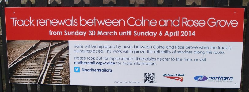 Sign describing the planned closure of the Colne branch 30 March 2014