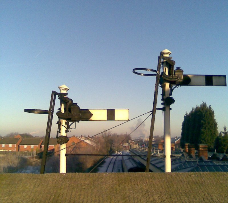 Signals controlling exit from Patform 2 at Loughborough Central.