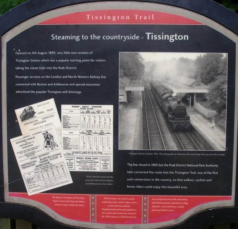 Display board recording the railway history of the trail featuring Stanoer 4MT 42609 in October 1954.