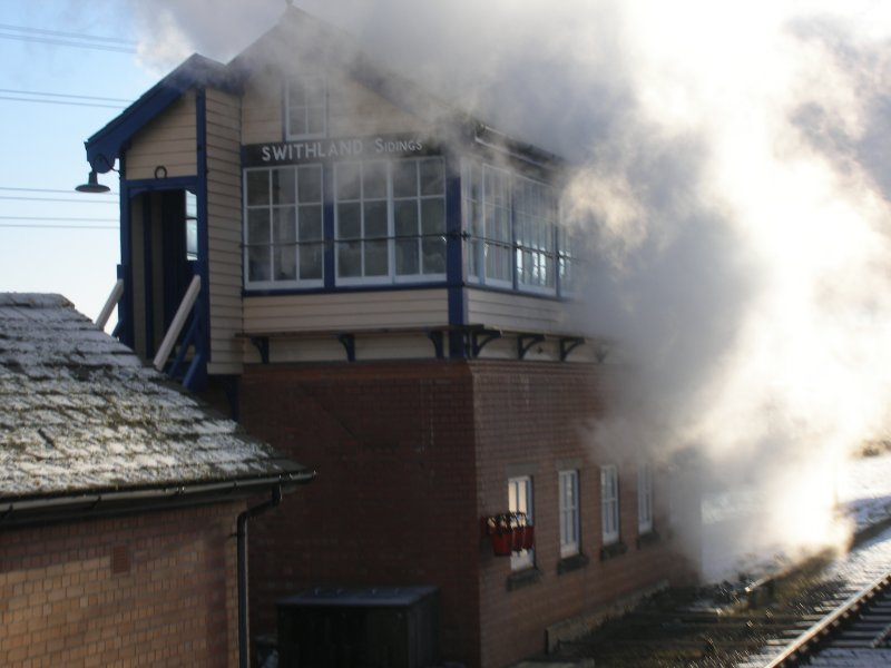 Steam from 'Oliver Cromwell' hides Swithland Sidings signal box, 30 December 2014