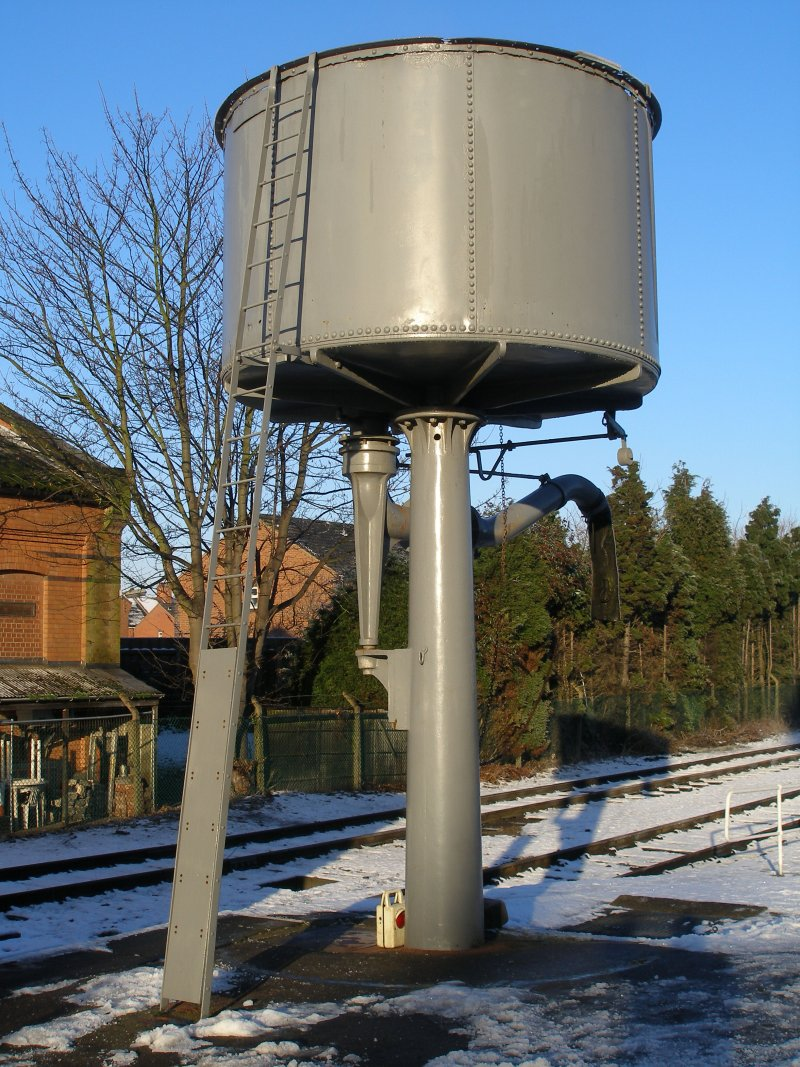 Water tank at the down end of Platform 2, Loughborough Central, Great Central Railway.