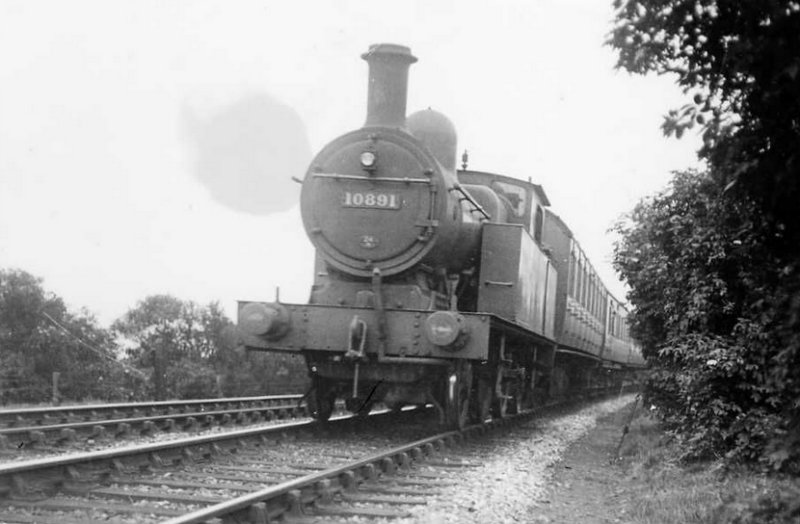 L&YR Radial Tank LMS No. 10891 pictured on a local train near Burnley