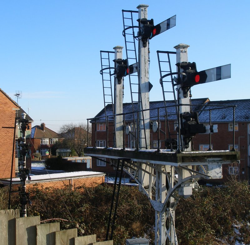 Original bracket signal rescued from the Nottingham approaches, Great Central Railway, Beccles Road Bridge, Loughborough
